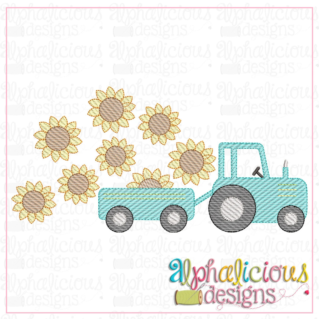 Farm Tractor with Sunflowers-Sketch