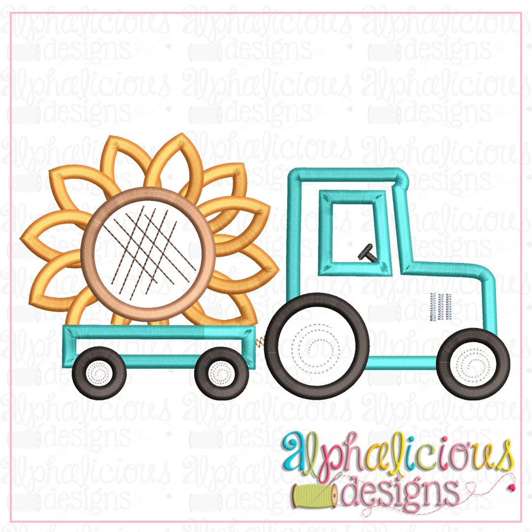 Tractor with Sunflower-Satin