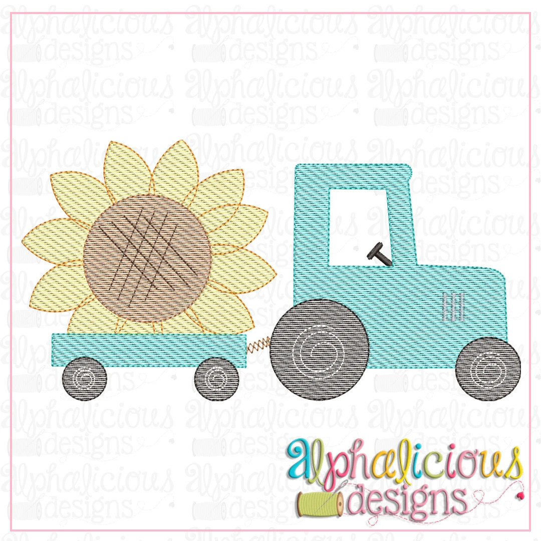Tractor with Sunflower-Sketch