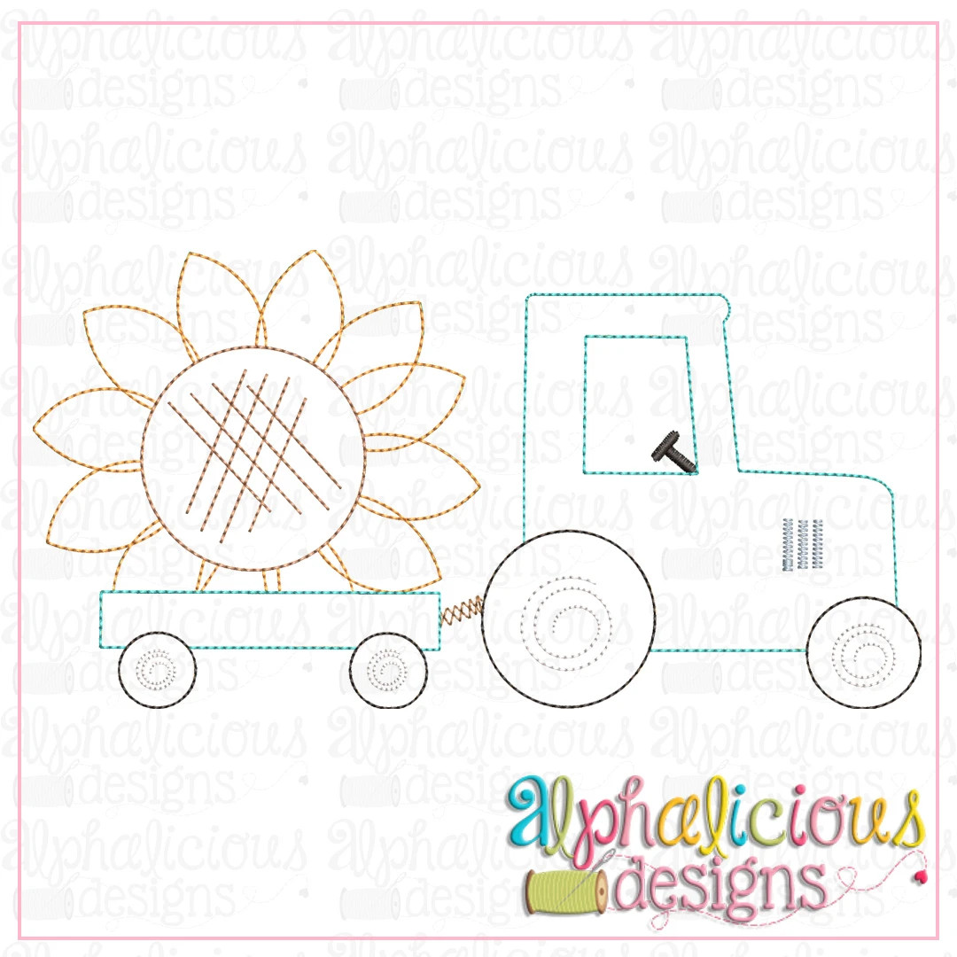 Tractor with Sunflower-Triple Bean