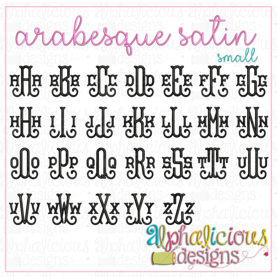 Arabesque Satin Embroidery Font