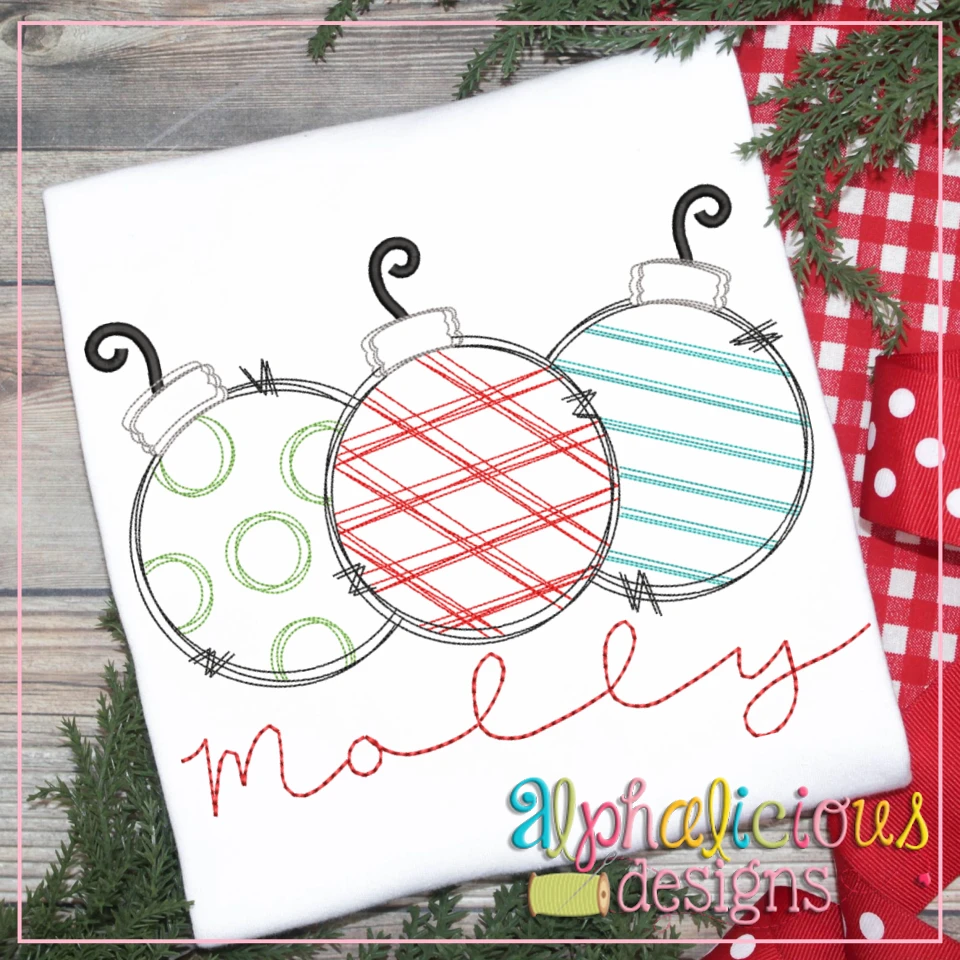 Ornaments Three in a Row - Scribble- exclusive