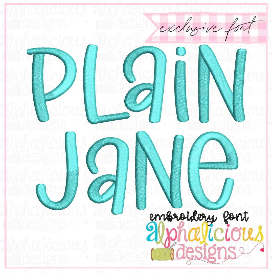 Plain Jane Satin Embroidery Font- Insiders
