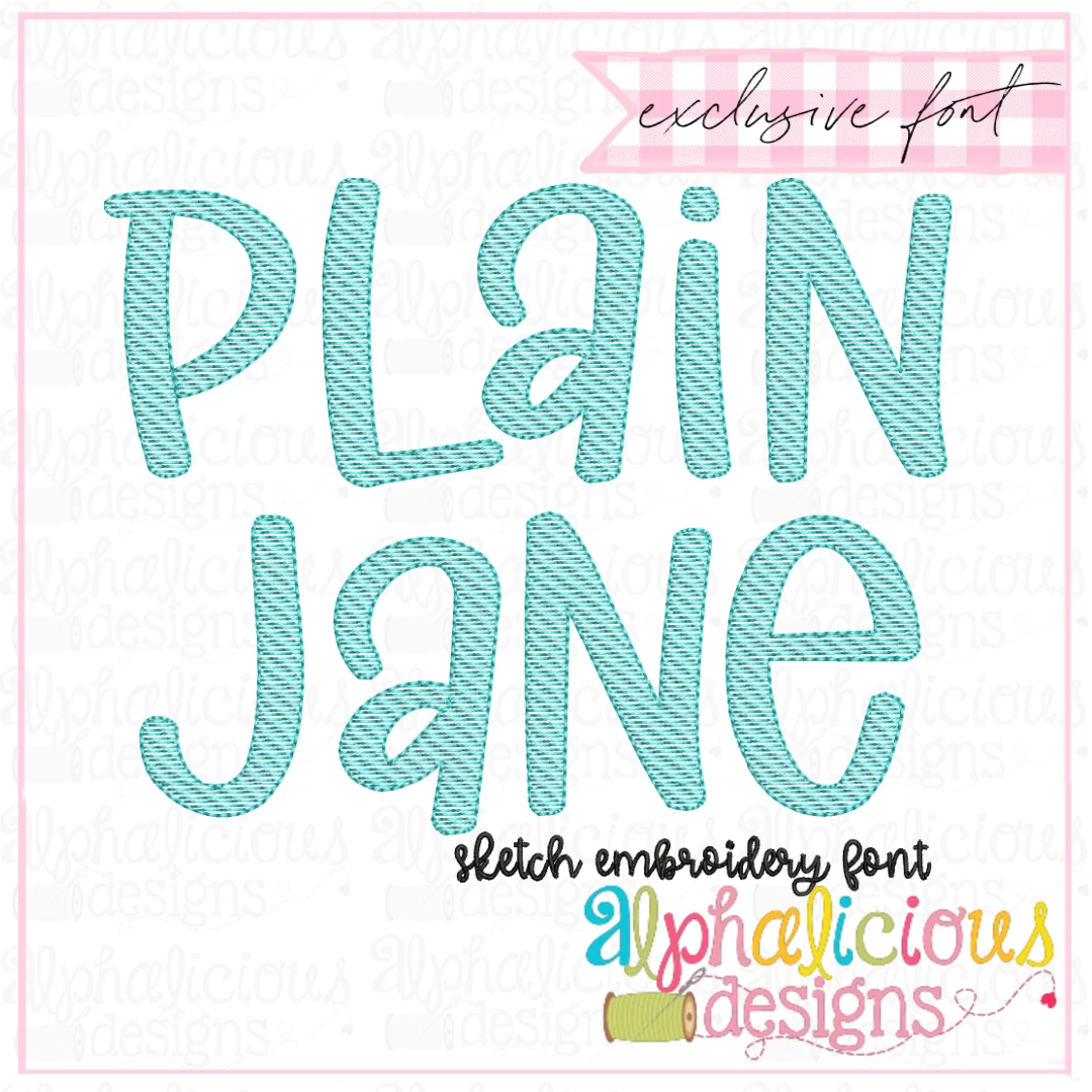 Plain Jane Sketch Embroidery Font Insiders