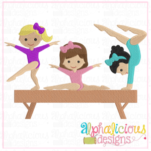 gold medal gymnastics girls-sketch embroidery - Fill Embroidery