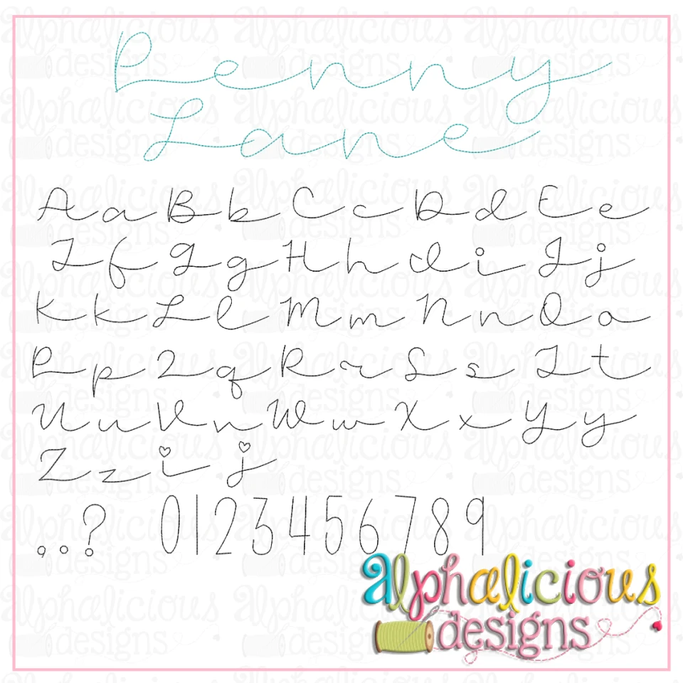 Penny Lane Floss Embroidery Font
