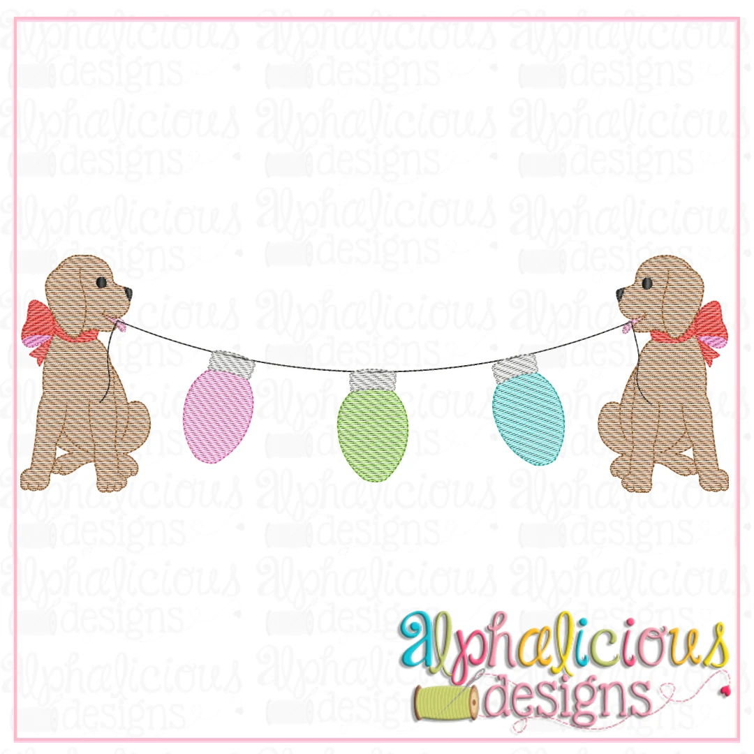 Pup Bunting with Bow - Lights - Sketch