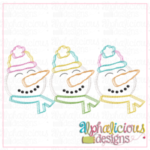 Snowmen with Hats and Scarf- Three in A Row- Scribble