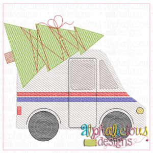 Mail Truck with Tree- Sketch