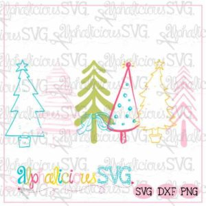 Merry & Bright Trees - Alpha SVG- Insider's Exclusive