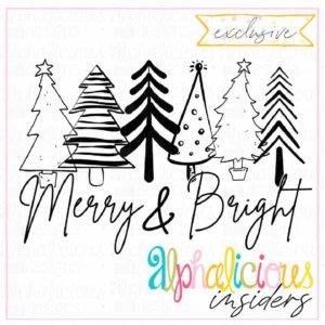 Merry & Bright Trees - Black - Printable - Insider's Exclusive
