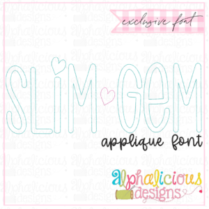 Slim-Gem Applique Font-Triple Bean