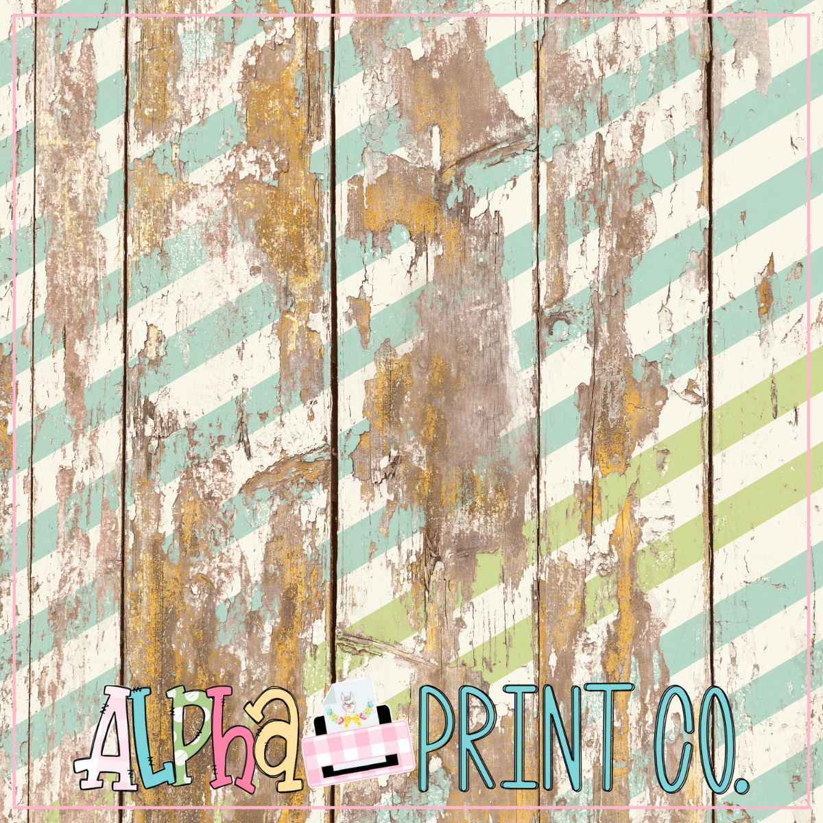Backdrop- Distressed Wood- Turquoise and Green Stripe