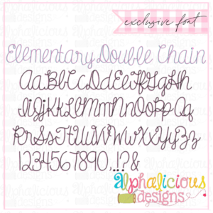 Elementary Chain Double Script Embroidery Font