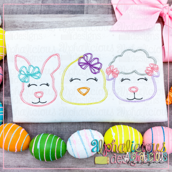 Bunny - Chick - Sheep with Bow - Three In a Row - Scribble