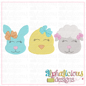 Bunny - Chick - Sheep with Bow - Three In A Row - Sketch