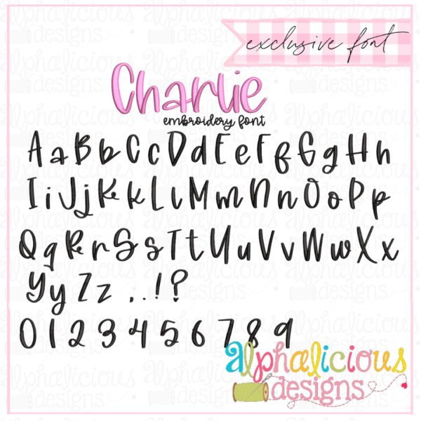 Charlie Embroidery Font - Satin