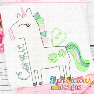 Happy Unicorn with Clovers - Sketch