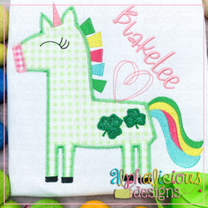 Happy Unicorn with Clovers - ZigZag
