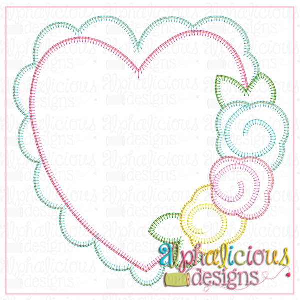Scalloped Heart with Flowers- Blanket