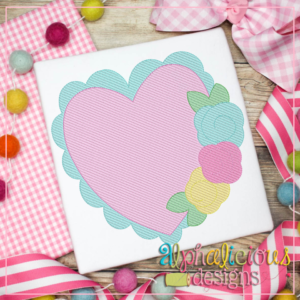 Scalloped Heart with Flowers- Sketch