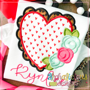 Scalloped Heart with Flowers- Satin