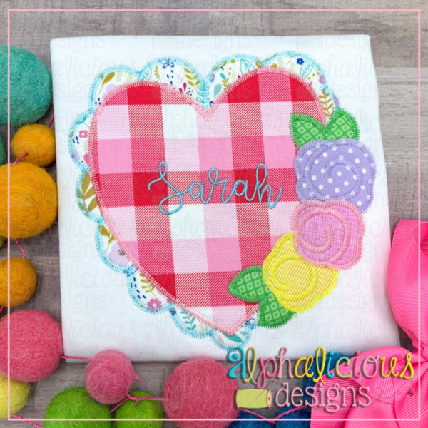 Scalloped Heart with Flowers- Zig Zag