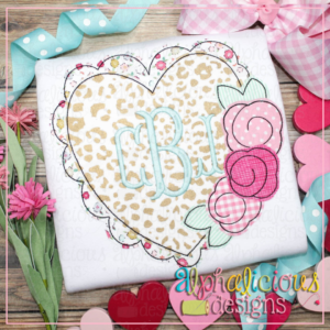 Scalloped Heart with Flowers- Triple Bean