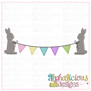 Bunnies with Bunting Banner