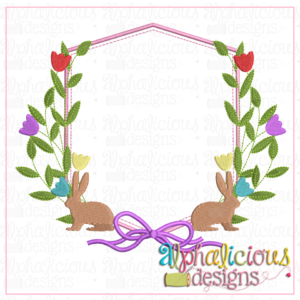 Heirloom Frame with Bunnies and Tulips
